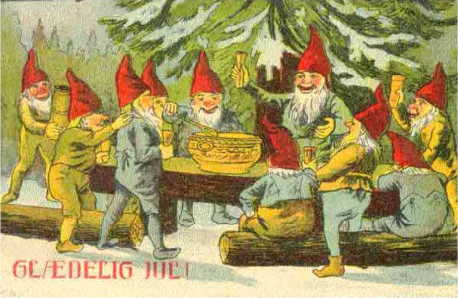 nisser som danser rundt om juletræ